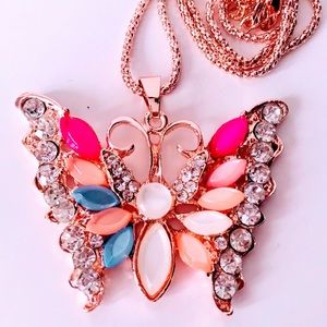 NEW! JEWELED BUTTERFLY SWEATER NECKLACE/ROSE GOLD
